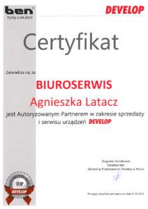 Certyfikat PC-NET Częstochowa - serwis naprawy drukarek, kserokopiarek i urządzeń biurowych
