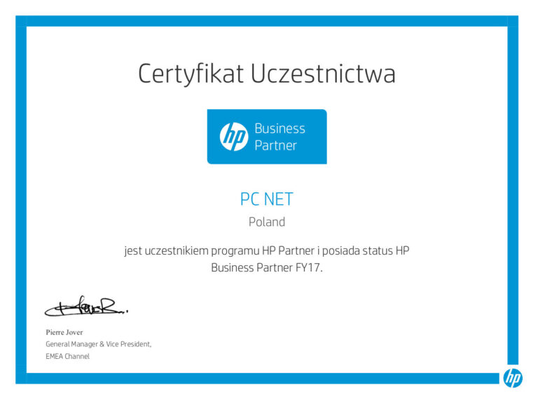 Certyfikaty PC-NET Częstochowa - serwis naprawy drukarek, kserokopiarek i urządzeń biurowych