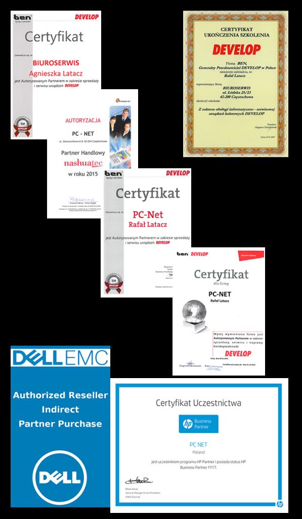 Serwis kserokopiarek PC-NET dyplomy, certyfikaty